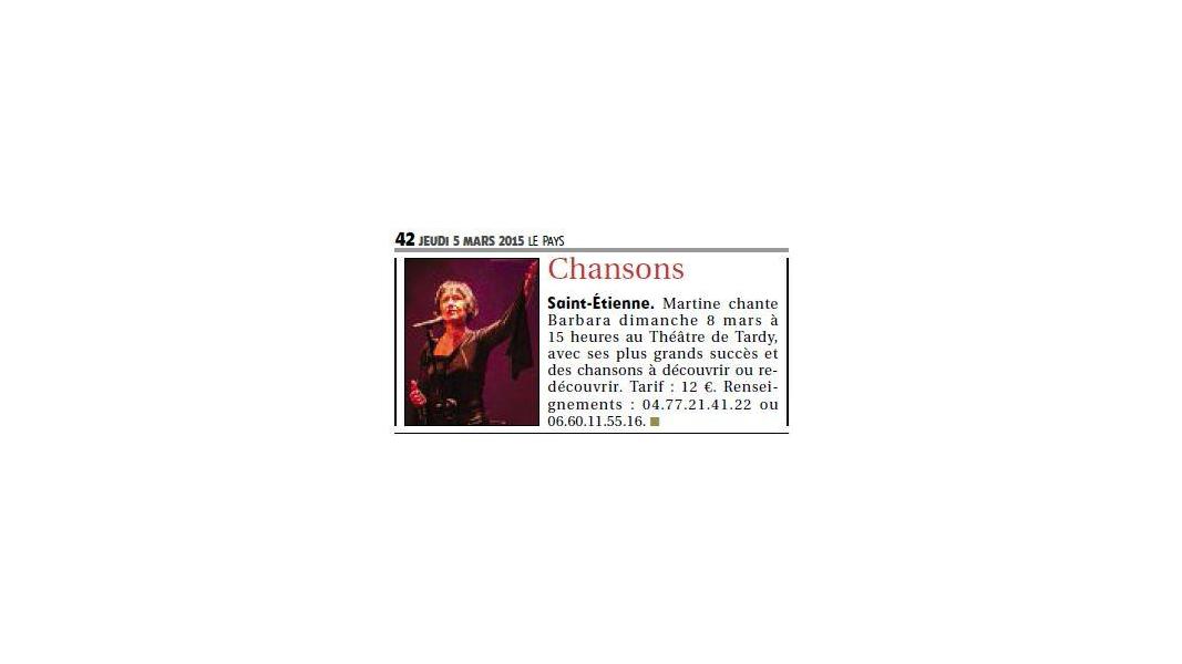 Article Le Pays (Edition Montbrison) du 5 mars 2015