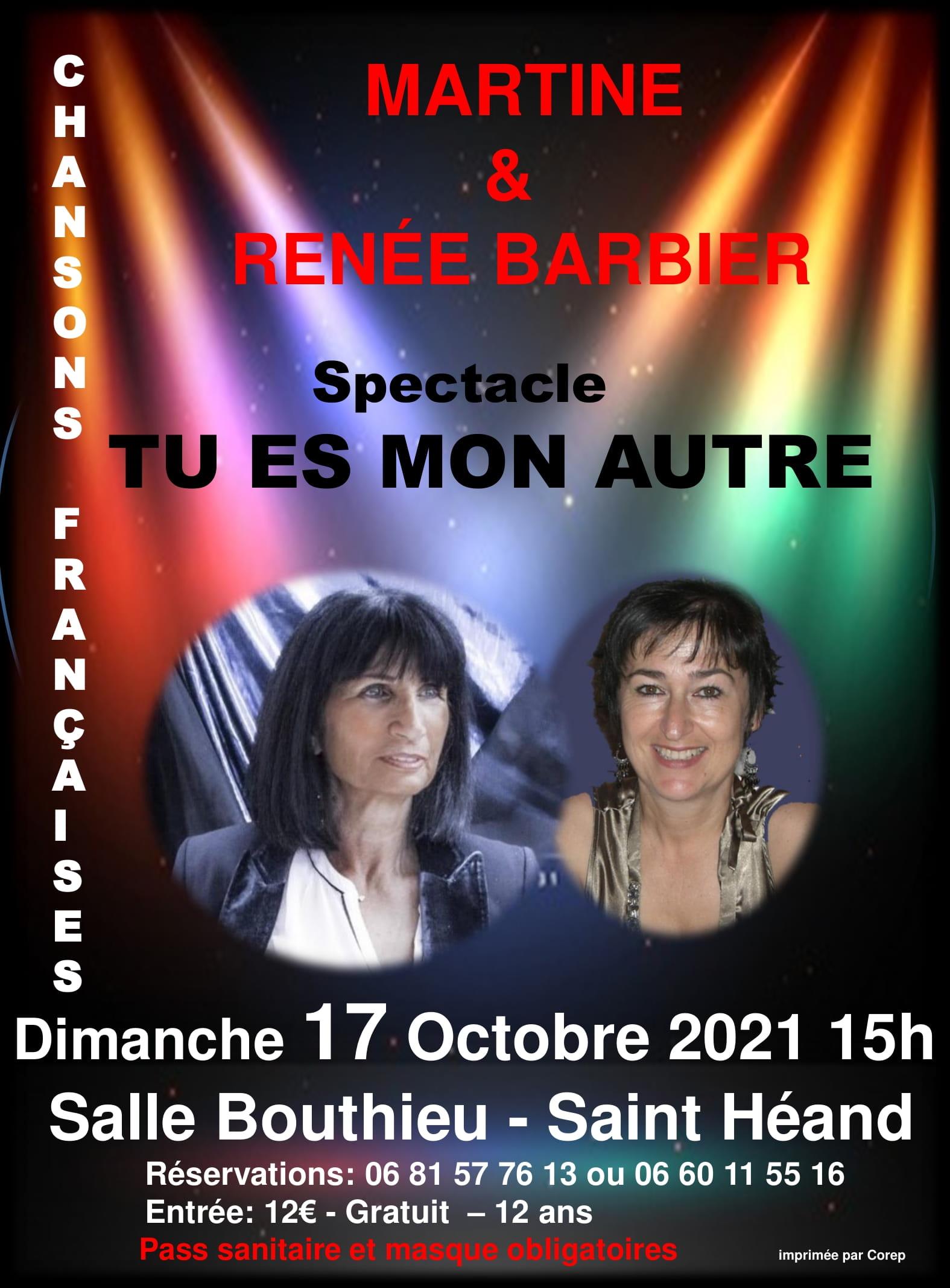 """Affiche du spectacle """"Tu es mon autre"""" du 17 octobre 2021"""