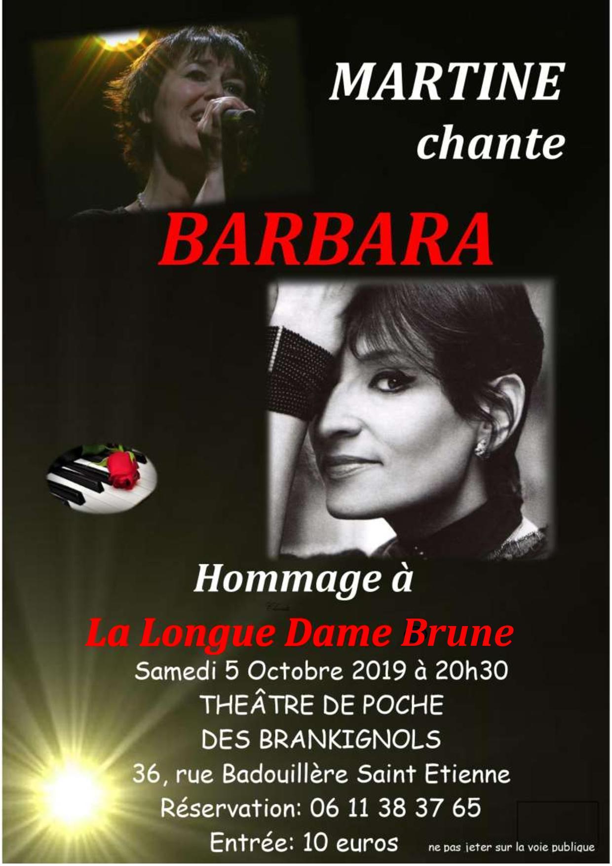 "Affiche du spectacle ""Martine chante Barbara"""